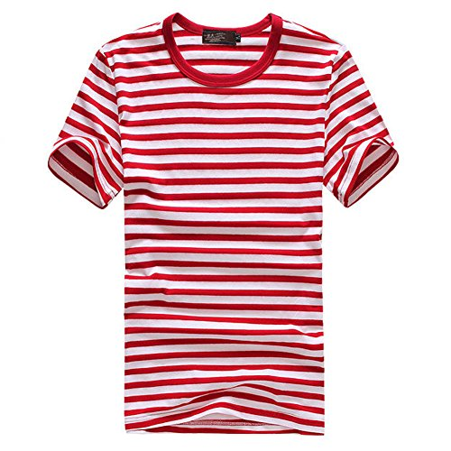 [JF-Sunshine Mens Striped Cotton Short Sleeve T-shirts, Black/ Blue/ Red/ Green (M, Red)] (Pugsley Addams Costume)