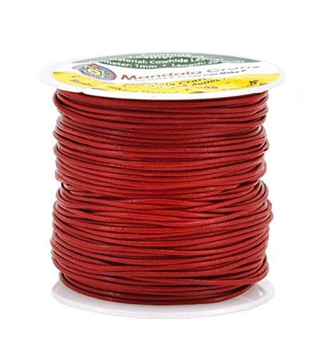 Mandala Crafts 1mm 2mm 3mm 20 Yards Natural Round Leather String Cord Rope Spool for Necklace Bracelet Jewelry Making (1mm, Red)