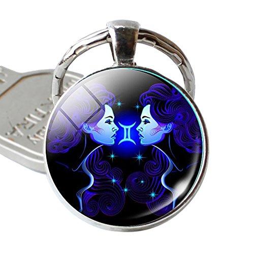 12 Constellation Zodiac Sign Round Glass Pendant Key Ring Holder Keychain Gift - Gemini qsbai