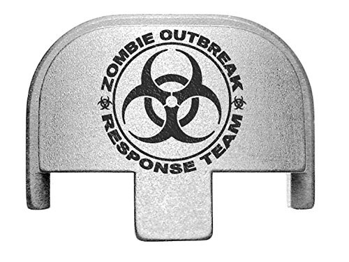 (NDZ Performance Rear Slide Cover Plate for Smith & Wesson Self Defense S&W SD9 SD40 VE 9mm .40 Silver Custom Laser Engraved Image: Zombie Response Team Biohazard)