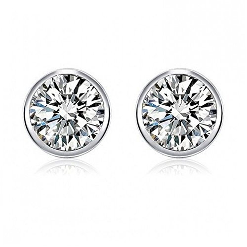 DRKK 925 Sterling Silver Bezel Martini-Set 4mm Clear Cubic Zirconia Solitaire Stud Earrings (Set Bed Martini)