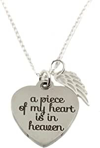 Memorial Gold Stainless Steel Charm A piece of my heart is in heaven BFS2926GOLD