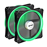 upHere 140mm PWM case fan 2PACK Solar Eclipse Hydraulic Bearing quiet cooling case fan for computer MIRAGE Color LED fan 4 pin with Anti Vibration Rubber Pads(Green) 14CMG4-2