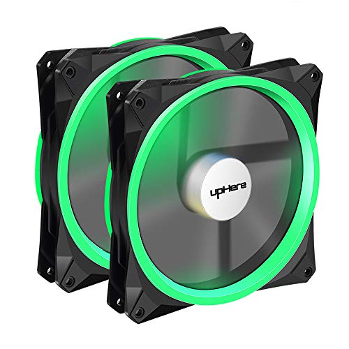 upHere 140mm PWM case Fan 2PACK Solar Eclipse Hydraulic Bearing Quiet Cooling case Fan for Computer Mirage Color LED Fan 4 pin with Anti Vibration Rubber Pads(Green) 14CMG4-2 ()