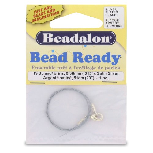 Beadalon Bead Ready 19 Strand .015-Inch Satin Silver Lobster Clasp Nickel-Free Silver Plated, 1-Piece