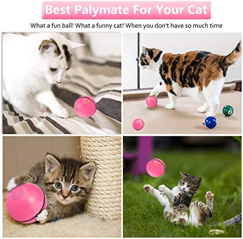 Interactive Cat Toys for Indoor Cat,Upgraded Version Self Rotating Electronic USB Rechargeable Wicked Cat Toy Ball with Build-in Red LED Light,Stimulate Hunting Instinct for Your Cat/Kitten (Red) 7
