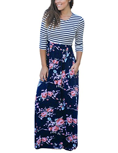 MEROKEETY Women's Striped Floral Print 3/4 Sleeve Tie Waist Maxi Dress With Pockets Navy Floral Large
