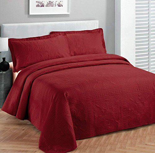 Elegant Home Beautiful Over Sized Solid Color Embossed Floral Striped 3 Piece Coverlet Bedspread (Queen/Full, Red) (Bedspread Red Queen)