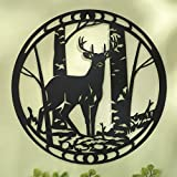 Bits and Pieces - Majestic Deer Silhouette Wall Art - Metal Deer Scene Home Décor Accent
