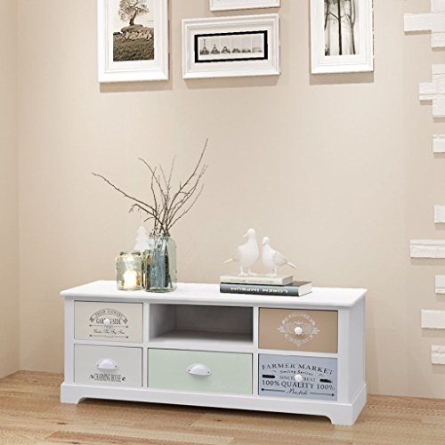 Daonanba TV Hi-Fi Stand Side Cabinet with 5 Drawers Durable Storage Cabint Low Cabinet Beautiful Home Furniture Decoration Living Room Decor