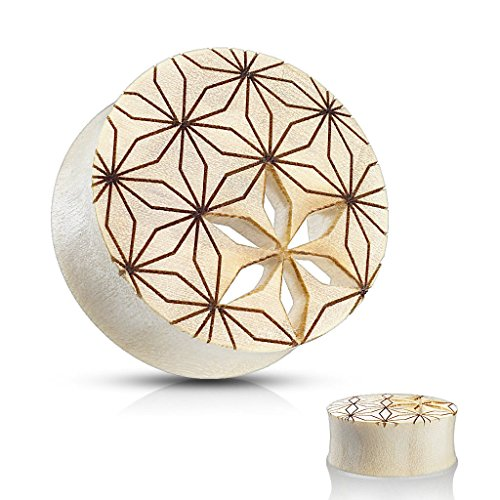- Lobal Domination PAIR of Flower of Life Cut Out Blonde Crocodile Wood Saddle Plug/Tunnels - Gauge Body Jewelry (00g (10mm))