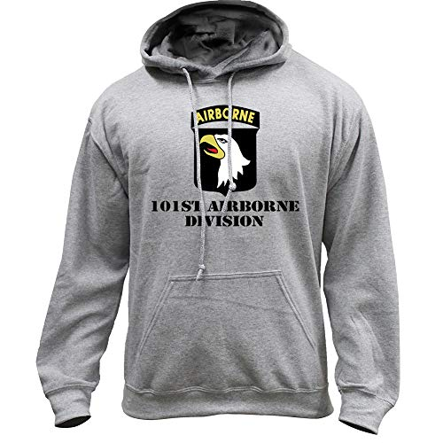 USAMM Army 101st Airborne Division Full Color Veteran Pullover Hoodie (2X-Large, Heather Grey)