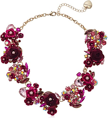 Betsey Johnson Multi-Pink Colored Roses and Stones Statement Necklace