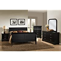 Roundhill Furniture Isony 594 Louis Philippe Style Wood Bedroom Furniture Set, Queen Bed, Dresser, Mirror and 2 Nightstands, Black