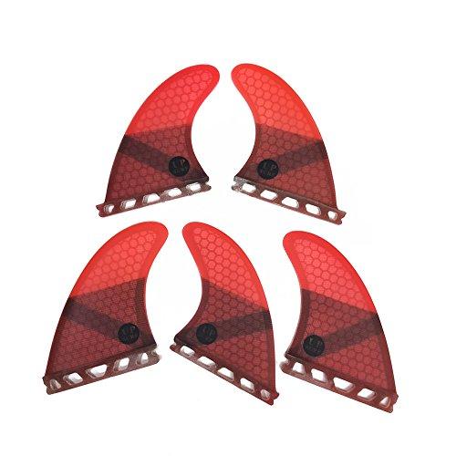Set Fins 3d Carbon (UPSURF Surfboard fins k2.1 5fins Future Surfing fins Honeycomb Choose Color (Red))
