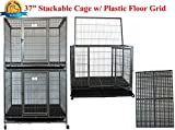 New 37'' Stackable Homey Pet Open Top Heavy Duty Dog Pet Cage Kennel or Tray (2 Tiers-Plastic Grid)