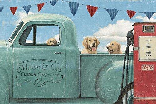 (Buyartforless Lets go for a Ride II by James Wiens 36x24 Golden Retrievers in Vintage Truck Art Print Poster )