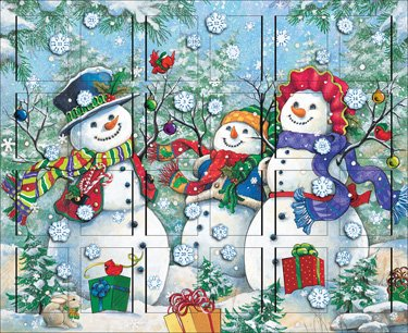 Byers' Choice Snowman Family Wooden Advent Calendar