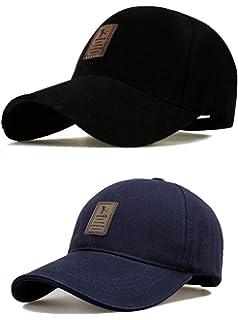 09013d8cc6726 SHVAS Combo of Black   Blue Cotton Baseball Adjustable EDIKO Cap for  Men Women Unisex