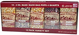 product image for Amish Country Popcorn | 10 - 4 oz Bags | Popcorn Kernel Variety Pack | 10 Pack Assorted Varieties | Old Fashioned, Non GMO, Gluten Free, Microwaveable and Kosher with Recipe Guide (10 - 4 oz Bags)
