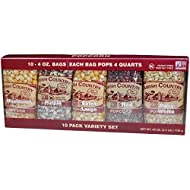 Amish Country Popcorn | 4 Ounce Kernel Variety Pack (10 Pack Assorted) | Old Fashioned, Non GMO, Gluten Free, Microwaveable and Kosher with Recipe Guide (4oz Each, 10ct Total)