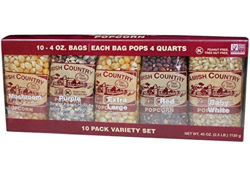 Amish Country Popcorn - 4 Ounce Variety Kernel Gift Set (10 Pack Assorted) - with Recipe Guide - Gluten Free, All Natural, Non-GMO, Vegan, Kosher, & Nut Free (Plain Popcorn Kernels)