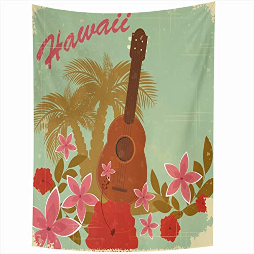 Ahawoso Tapestry Wall Hanging 50x60 Inches Flower Brown Pattern Vintage Hawaiian Beach Party Sports Leaf Recreation Hawaii Green Ukulele Retro Home Decor Tapestries Art for Living Room Bedroom - Hawaiian Art Vintage Beach