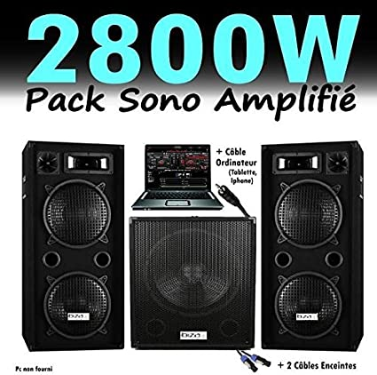 pack de sonido DJ 2800 W, cubo 1512 con subwoofer amplificado ...