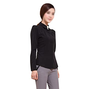 2015 SODIAL moda femenina camisa de manga larga elegante OL oído interno de las mujeres gasa