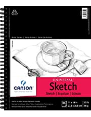 Canson Artist Series Universal Paper Sketch Pad, for Pencil and Charcoal, Micro-Perforated, Side Wire Bound, 65 Pound, 100 sheets