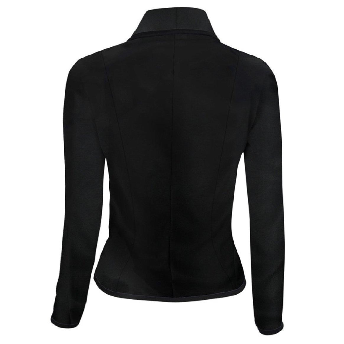YUNY Womens 2 Button Stylish Plus-Size Slim Short Blazer Suit Coat Tops Black XL