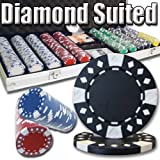 500 Count Diamond Suited Poker Set - 11.5 Gram Clay Composite Chips with Aluminum Case, Playing Cards, & Dealer Button for Texas Hold'em, Blackjack, & Casino Games by Brybelly
