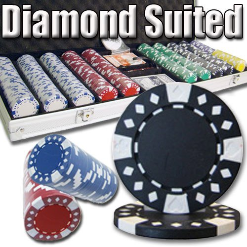 500 Count Diamond Suited Poker Set - 11.5 Gram Clay Composite Chips with Aluminum Case, Playing Cards, & Dealer Button for Texas Hold'em, Blackjack, & Casino Games by Brybelly by Brybelly