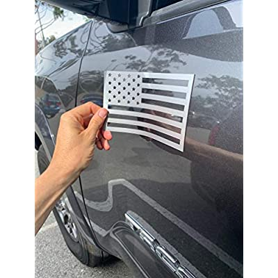 American Flag Magnet Cut-Out - Set of 2 Tactical Car Decal Magnets Made in USA (Metallic Gray): Clothing