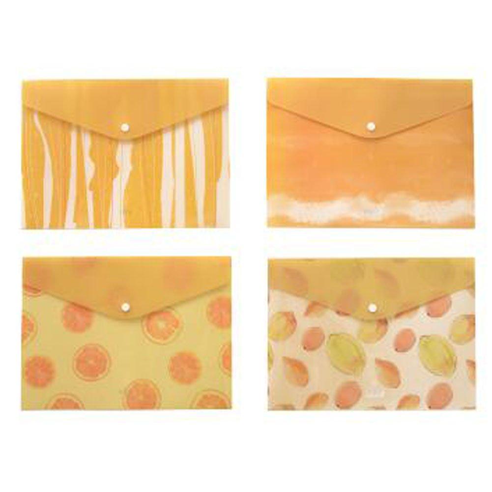 2PCS Cute File Bag Stationery Bag Pouch File Envelope for Office/School Supplies, Lemon