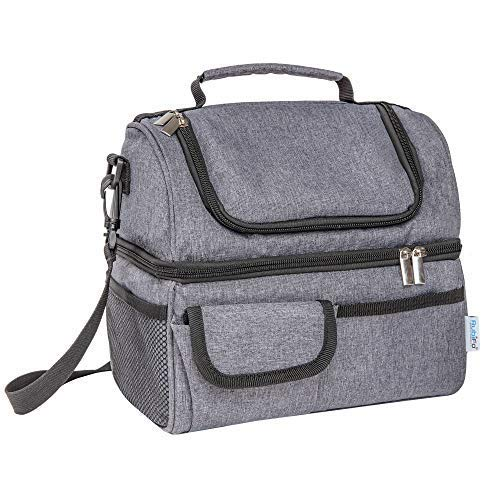 Best Lunch Bags for Women or Men: Grey Thermal Lunch Bag for Men Woman Adult, Kids | Insulated Lunchbox, Soft Cooler Bag | Meal Prep Womens Lunch Box Compartment Lunch Tote | Men's Lunch Box for Work