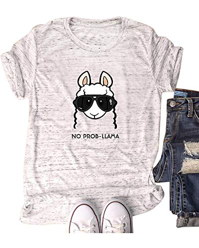 Marble Farm - Women Goat Head Tops Farm Funny Cute Junior Teen T Shirt Marble White M