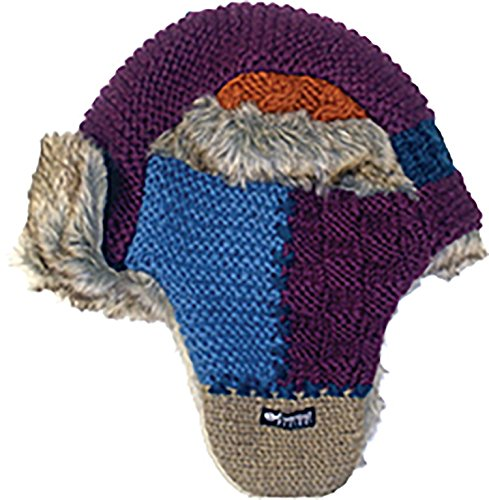 Everest Designs F14101 Patch Work Fur Flap Hat, Purple, One - Flap Hat Everest