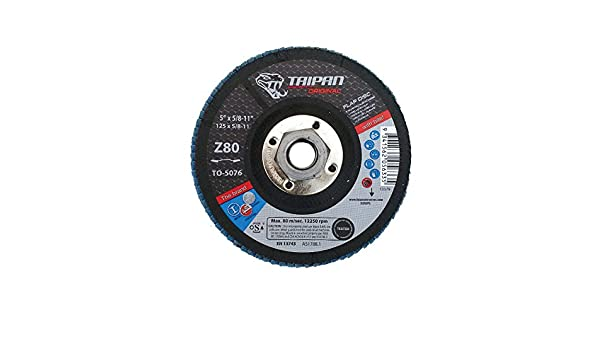 5//8-11 Arbor 12250 RPM 5 OD 5//8-11 Arbor 5 OD Taipan Abrasives TO-5076  Original Zirconia Flap Disc 80 Grit Depressed