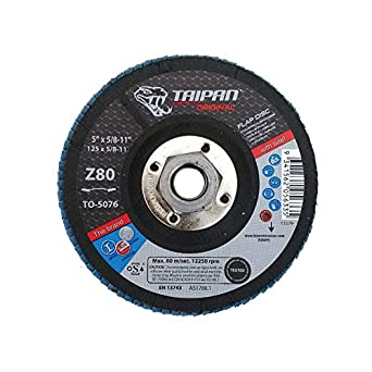 5//8-11 Arbor Taipan Abrasives TO-5074  Original Zirconia Flap Disc Depressed 60 Grit 12250 RPM 5 OD 5//8-11 Arbor 5 OD