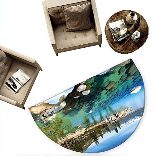 Lake Tahoe Semicircle Doormat Scenic American Places Mountains with Snow Rocks in The Lake California Summer Halfmoon doormats H 55.1