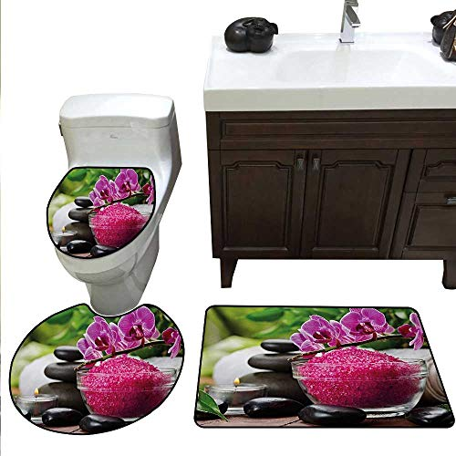 Anshesix Spa Bath mat Set with Toilet Cover Black Zen Stone Triplets with Asian Originated Orchids and Fuchsia Salt Toilet Rug and mat Set Fuchsia Black and ()