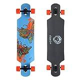 DGWBT Bamboo 41 inch Drop Through Longboard Skateboard Complete (blue maple)