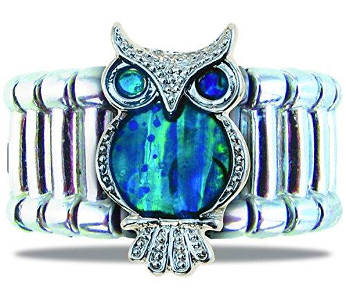 Puzzled Aqua Silver & Blue Owl Adjustable Ring, Heavy-Weight Fashionable Sparkling Elegant Novelty Jewelry with Genuine New Zealand Paua Shell Wildlife Themed Fashion Statement Unisex Hand Accessory