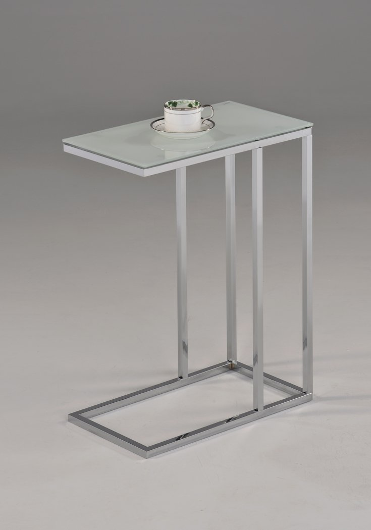 Contemporary Glass Table Part - 45: Amazon.com: Contemporary Snack Table With Glass Top, Chrome And Smoked  White: Kitchen U0026 Dining