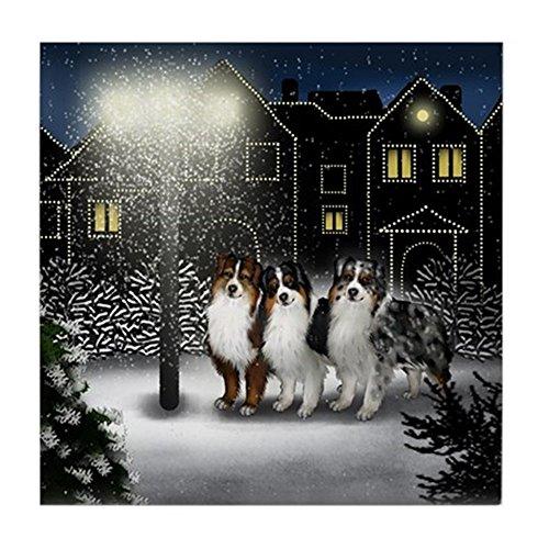 CafePress Australian Shepherd Dogs Snow City Tile Coaster, Drink Coaster, Small Trivet