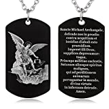 FAYERXL St Michael The Archangel Latin Prayer Dog Tag Necklace Military Pendant Christian Faith Jewelry (Saint Michael Archangel Latin)