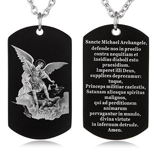 FAYERXL St Michael The Archangel Latin Prayer Dog Tag Necklace Military Pendant Christian Faith Jewelry (Saint Michael Archangel ()