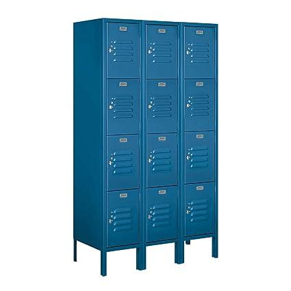 "Standard Metal Locker Double Tier 1 Wide 5/' High 12/"" Deep Blue 62152BL-U NEW"
