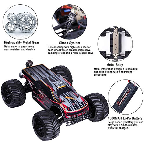 JLBRACINGRC Super Fast 1/10 Scale Cheetah RC Car, 80 KM/H 4WD 2.4GHZ RC Truck with 120A ESC IPX7 Waterproof 3670 2500KV Brushless Motor Wheelie Function 4x4 Off Road RTR RC Monster Truck for Adults by JLBRACINGRC (Image #4)